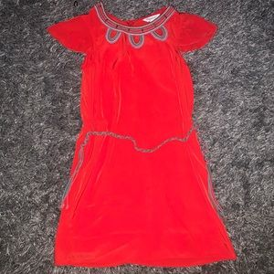 KC Parker 7 red embroidered beaded dress